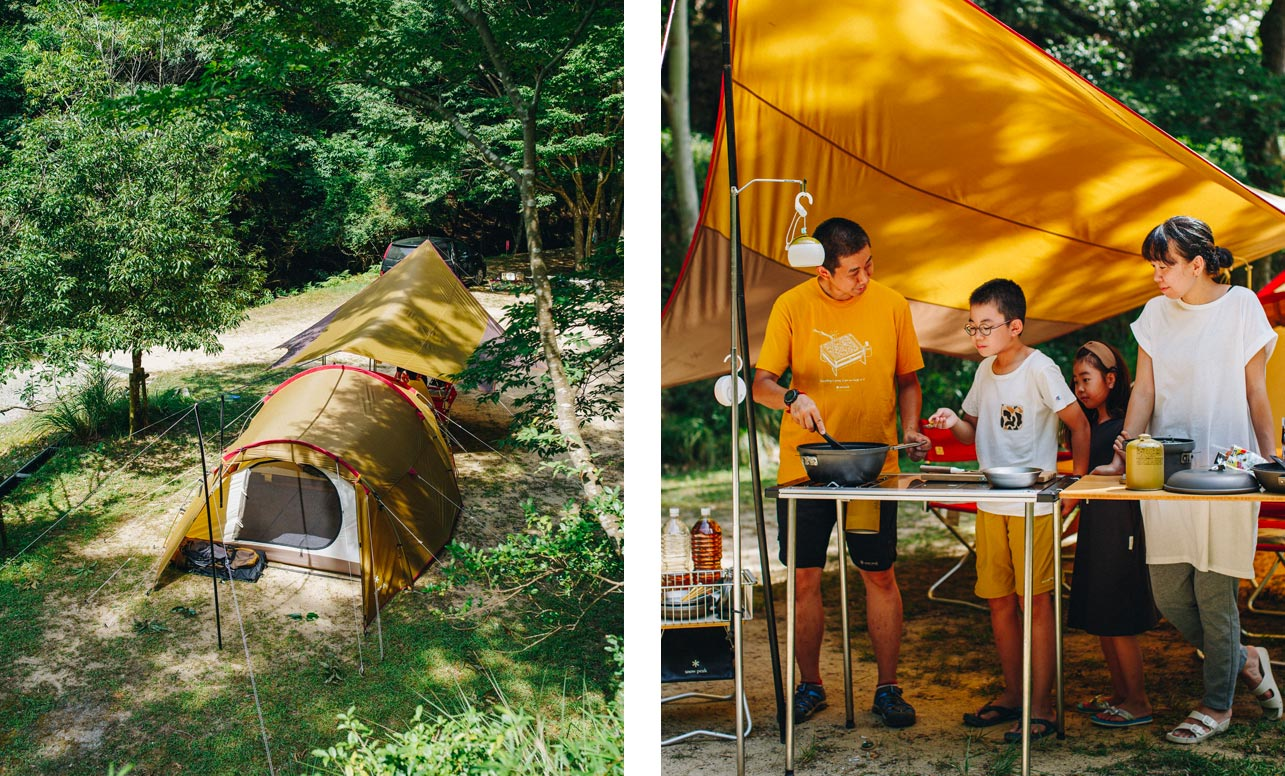 Left image shows a Snow Peak tent and tarp combination from our entry line. Right image shows a family cooking on an IGT setup under a Snow Peak tarp.