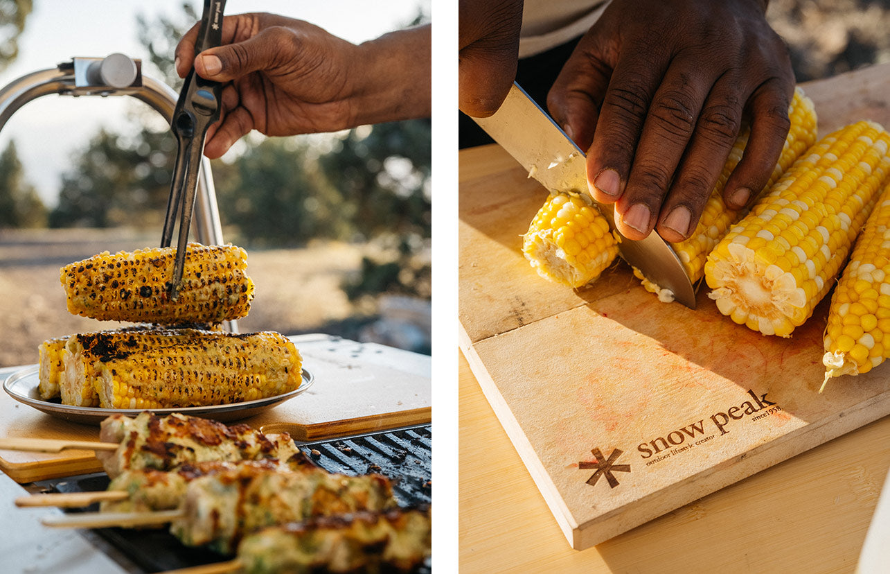 Left image shows Rashad Frazier plating the grilled corn using Barbeque Tongs. The right image shows Rashad preparing the corn to grill.