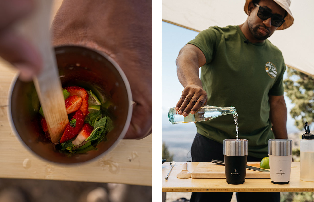 Left image of a person muddling strawberries. Right image shows Rashad Frazier pouring the Strawberry Mash Mocktail into a Shimo Tumbler.