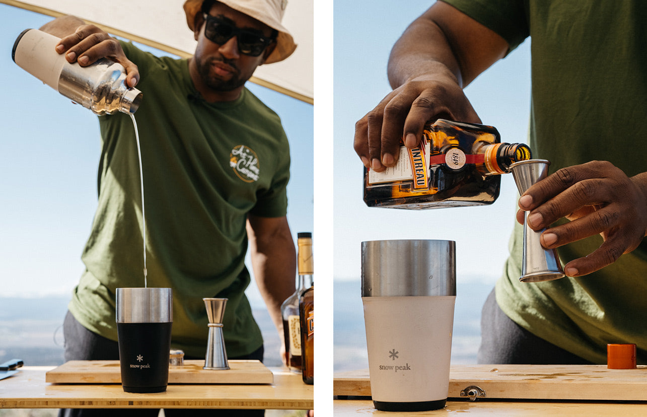 Left image of Rashad Frazier pouring ingredients to make his Camp Yoshi Sidecar. Right image shows him measuring out ingredients as he prepares the cocktail.