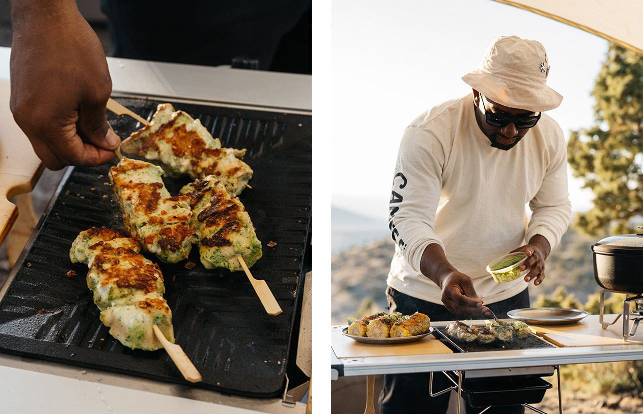 Left image shows chicken skewers on the grill. Right image shows Rashad Frazier preparing the skewers.