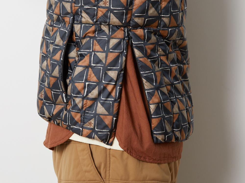 printed Recycled Middle Down Vest - Snow Peak