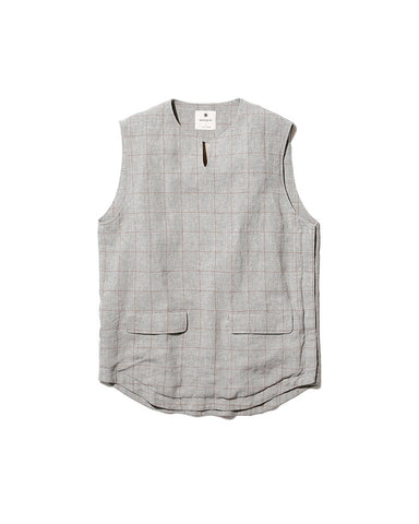 Cotton Linen Check Tweed Vest