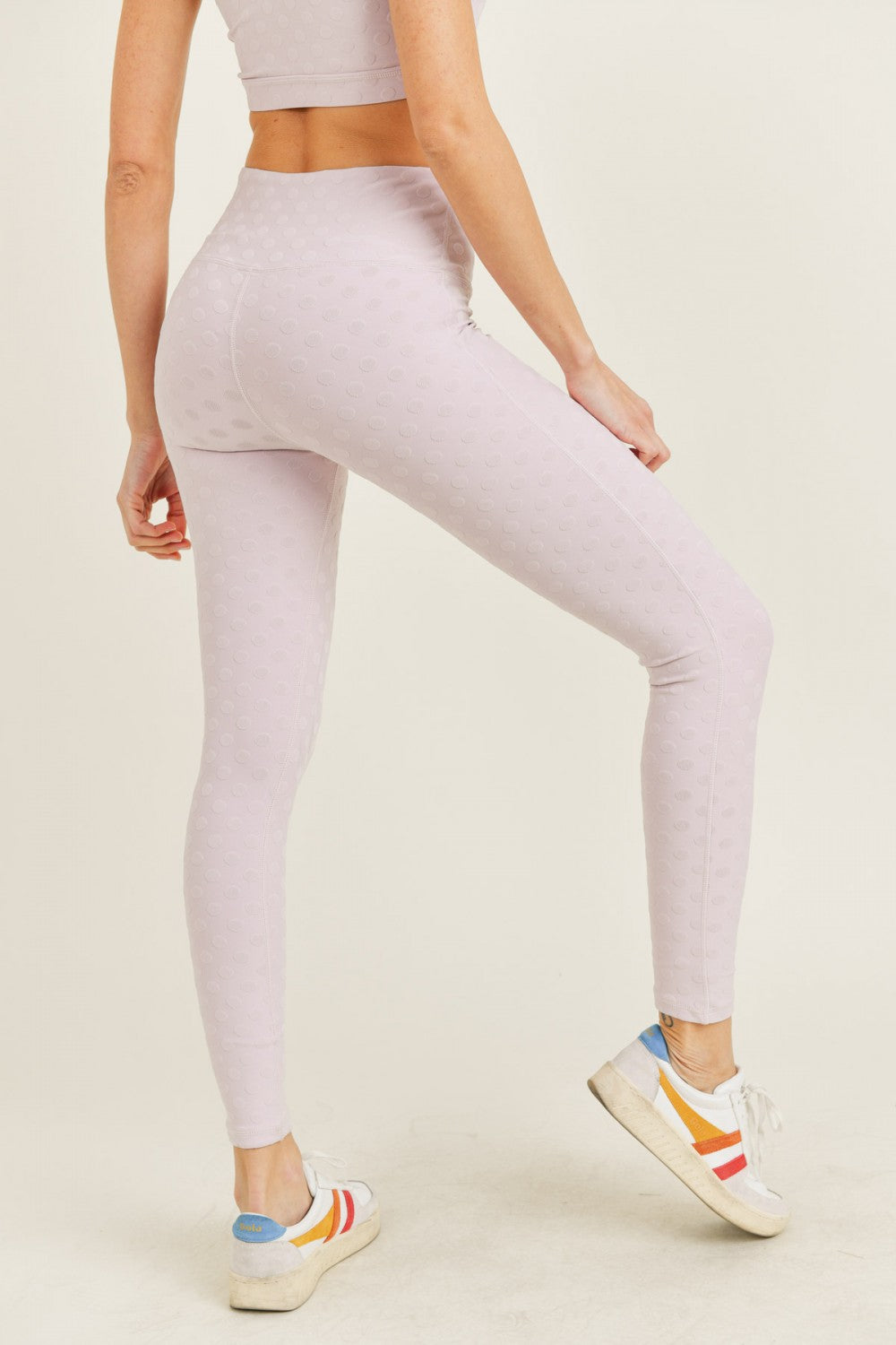 Polkadot Highwaist Leggings- Light Pink