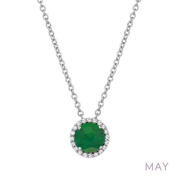 Lafonn Simulated Emerald Halo Pendant - May Birthstone