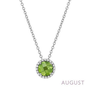 Lafonn Peridot Halo Necklace - August Birthstone