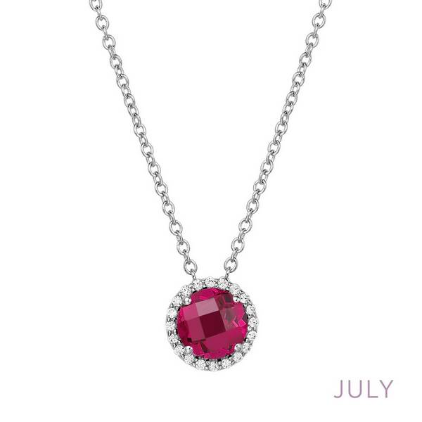 Lafonn Simulated Ruby Halo Necklace - July Birthstone