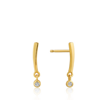 Load image into Gallery viewer, Gold Shimmer Bar Stud Earrings