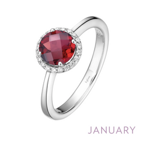 Lafonn Garnet Halo Ring - January Birthstone