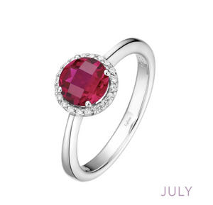 Lafonn Simulated Ruby Halo Ring - July Birthstone