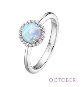 Lafonn Simulated Opal Halo Ring - October Birthstone