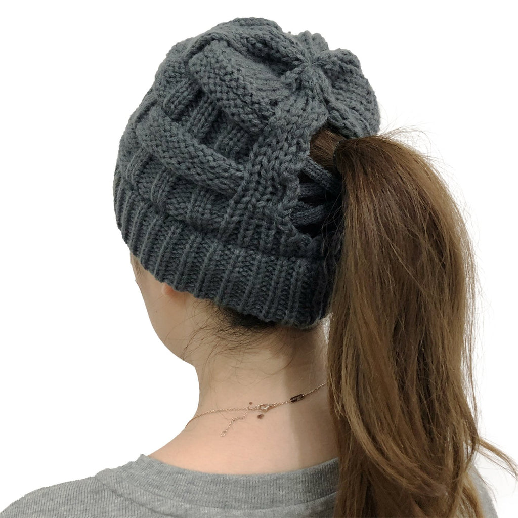 Criss Cross Pony Beanie