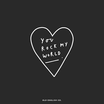 you rock my world love heart illustration