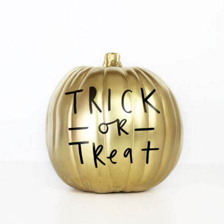 Halloween Trick or Treat Gold Pumpkin