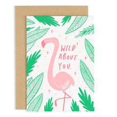 Colour Block Flamingo Card