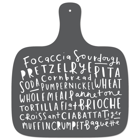 typography bread board
