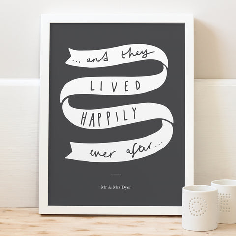 Happily ever after personalised typography print