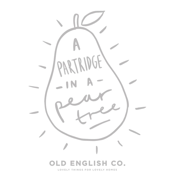typography partridge in a pear tree Christmas quote