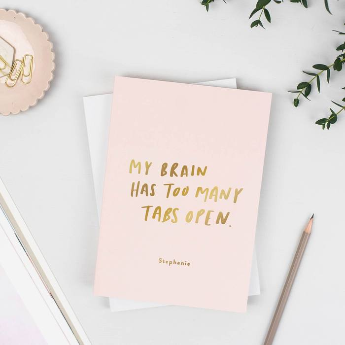 Too Many Tabs Open Pink Personalised Softback Notebook