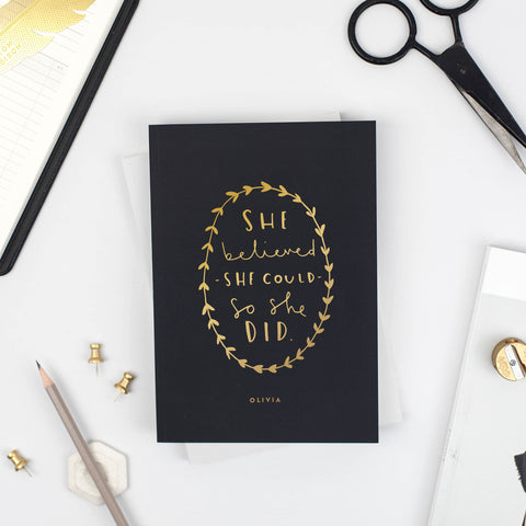 She Believed Foil Personalised Notebook