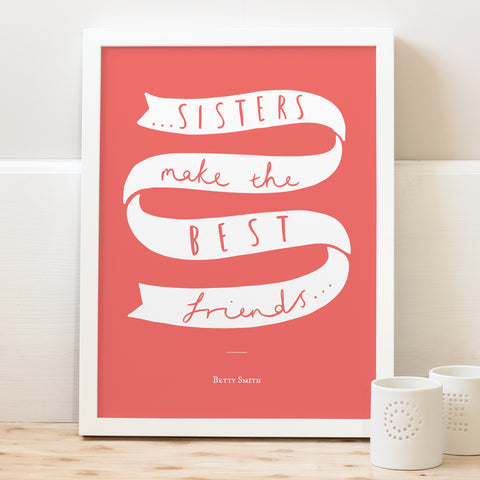 personalised sister typography print