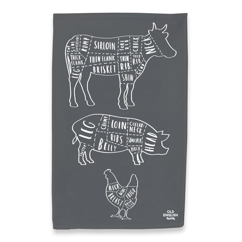 butcher cuts tea towel