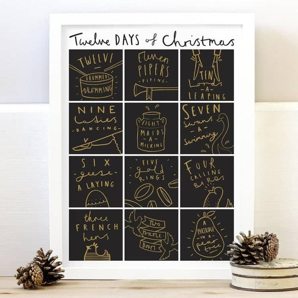 twelve days of christmas typography print