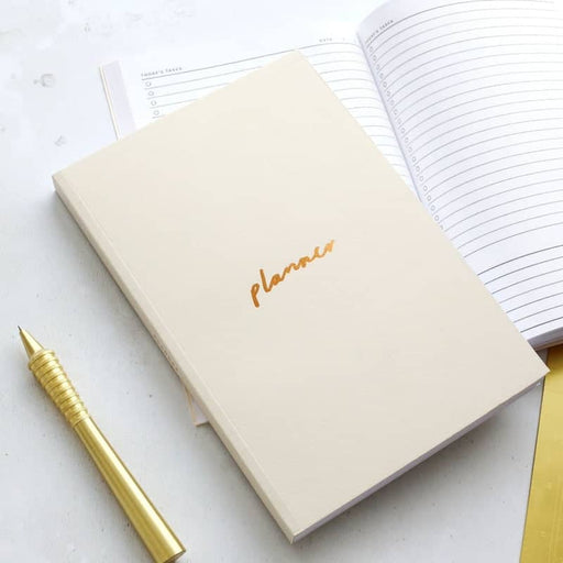 off white copper planner notebook