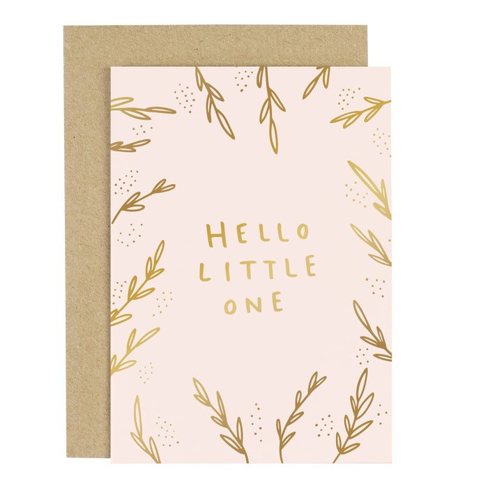 Hello Little One Blush Pink Greeting Card