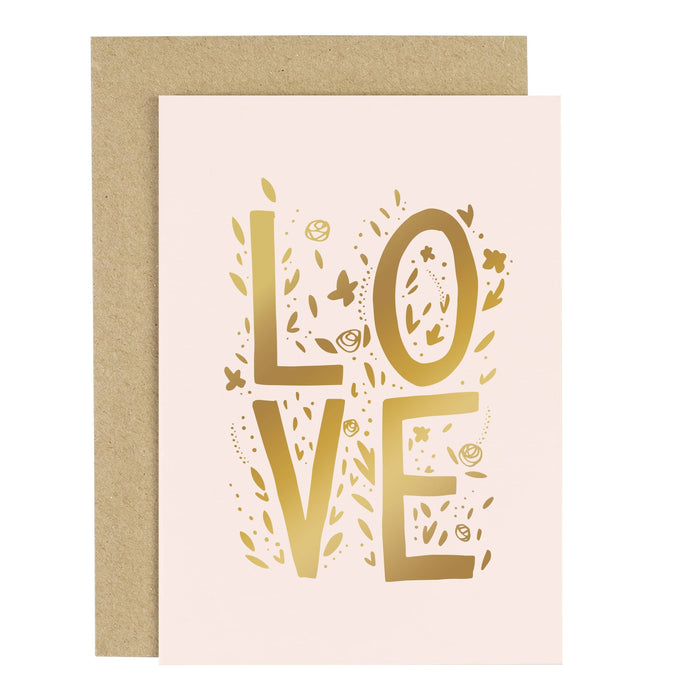 Love Letters Blush Pink Greeting Card