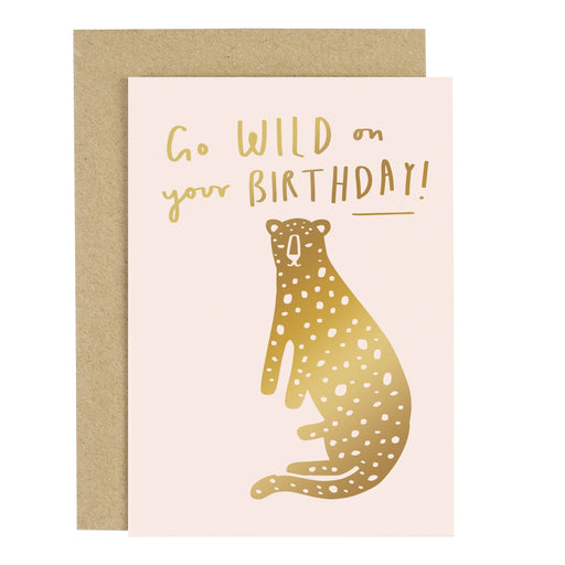 Go Wild Birthday Leopard Blush Pink Greeting Card