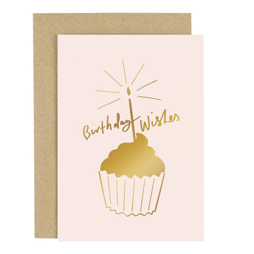 Birthday Wishes Cake Blush Pink Greeting Card