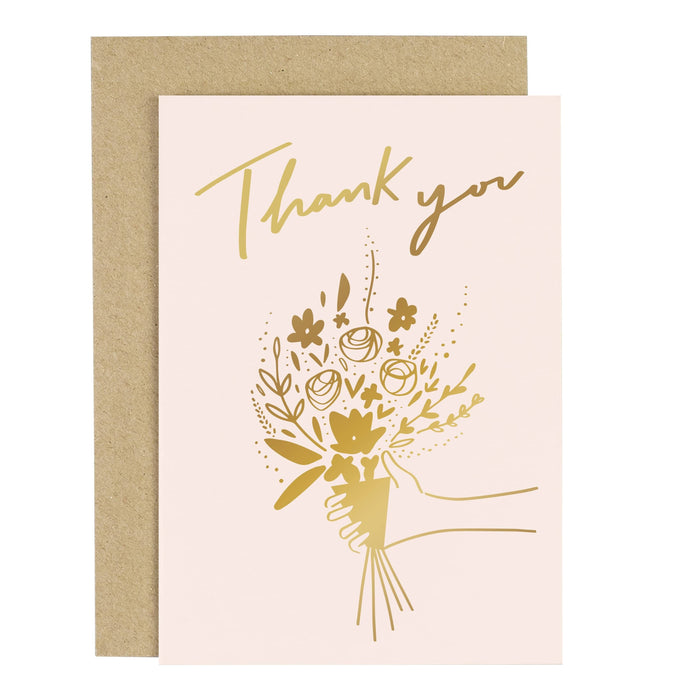 Thank You Flowers Blush Pink Greeting Card