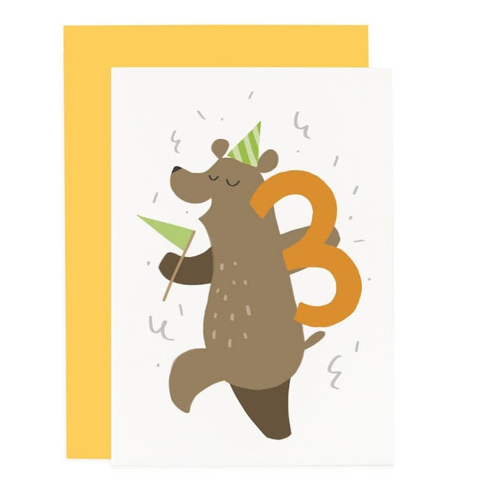Party Animal 3rd Birthday Card Bear Birthday Card Old English