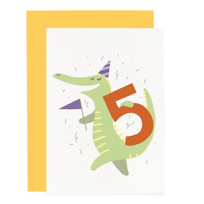 crocodiles 5th birthday card