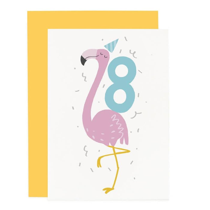 Flamingo 8th Birthday Card