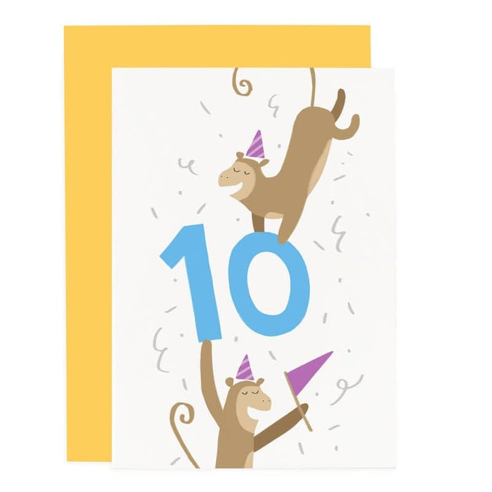 10th birthday monkey card