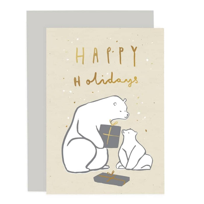 happy holidays polar bear card