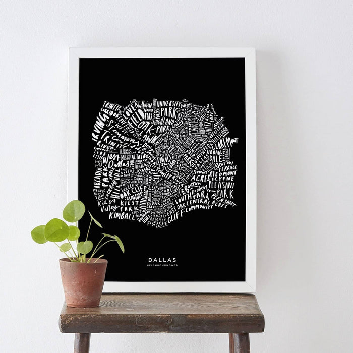 Dallas hand-lettered map print