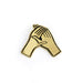 hands holding each other enamel pin