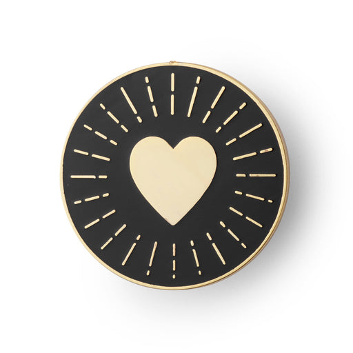 Heart circle enamel pin