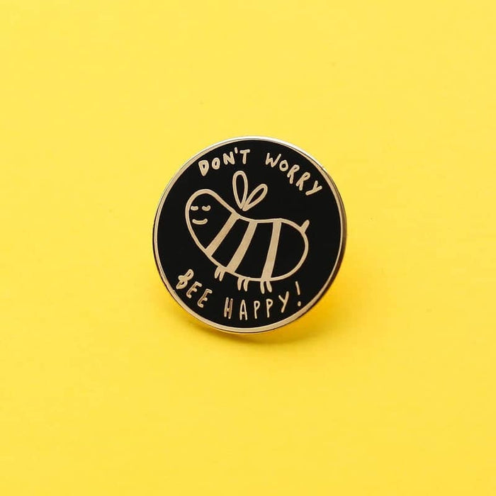 bee happy enamel pin