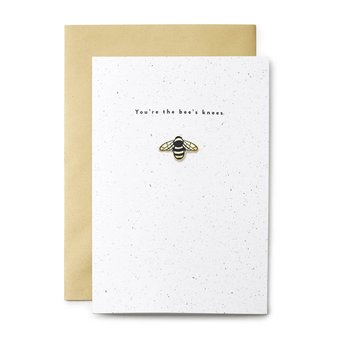 bee enamel pin card