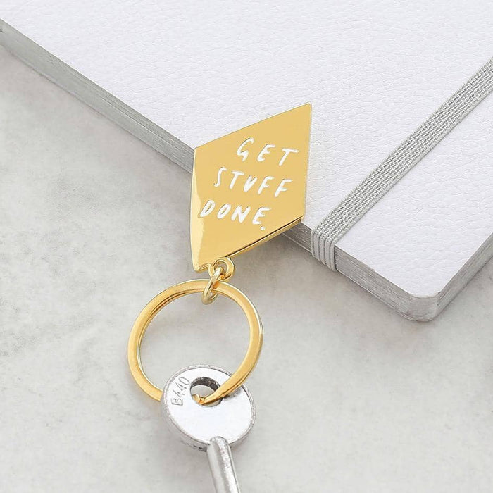 Get stuff done gold keyring