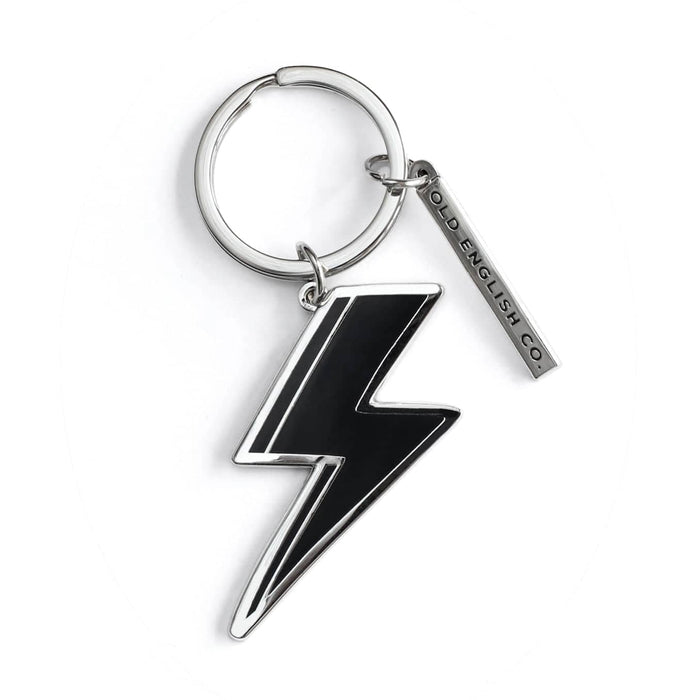 black and silver lightning bolt keyring
