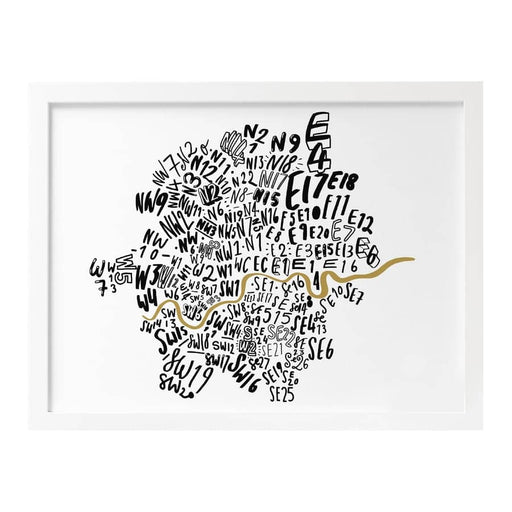London postcode map print