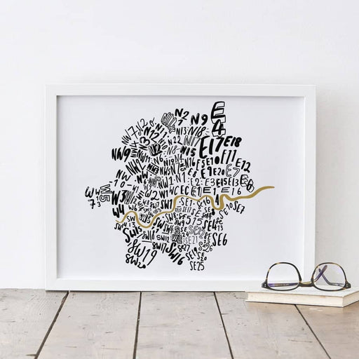 London typography map print