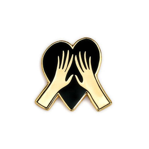 love heart hands enamel pin