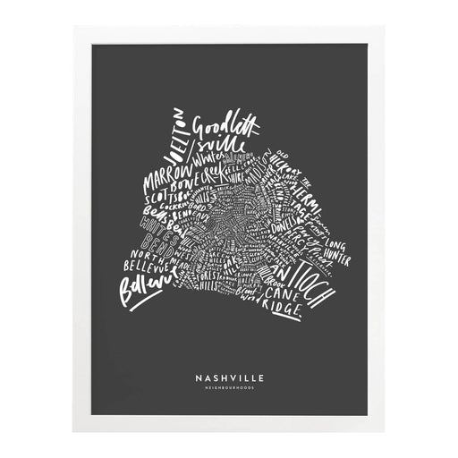 Nashville hand-lettered map print