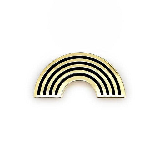 gold and black rainbow enamel pin